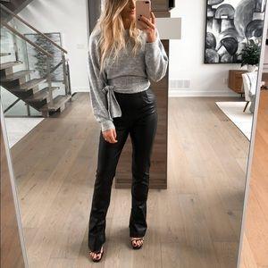 Zara Extra Long Faux Leather Leggings w Ankle Zip